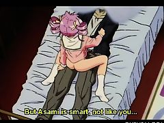 Pink haired hentai doll fucks her masters dick in dorm bed