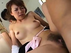 Pretty Japanese mature's hairy cunt fucked